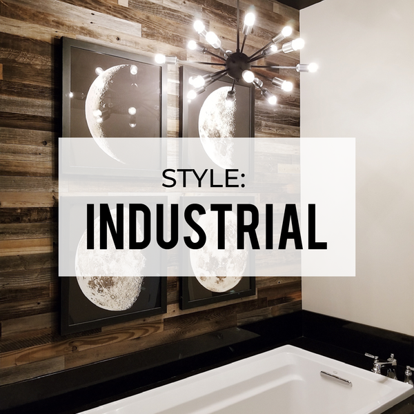 "Industrial Bathroom Featuring 3"" Reclaimed Peel & Stick Wood Planks"