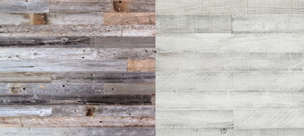 Plank & Mill whitewash reclaimed wood peel and stick wood wall