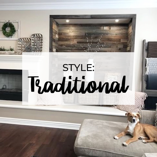 traditional rustic living room with reclaimed wood