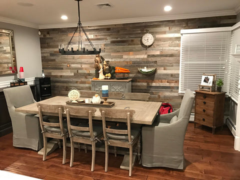 Plank & Mill reclaimed barn wood dining room accent wall
