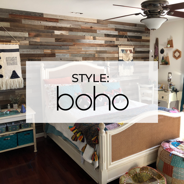 "Boho Bedroom Featuring 3"" Reclaimed Peel & Stick Wood Planks"