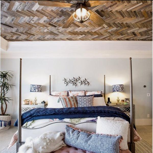 "Herringbone Ceiling plank and mill 3"" reclaimed wood planks"