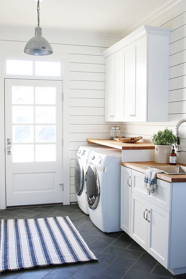 White shiplap laundry room