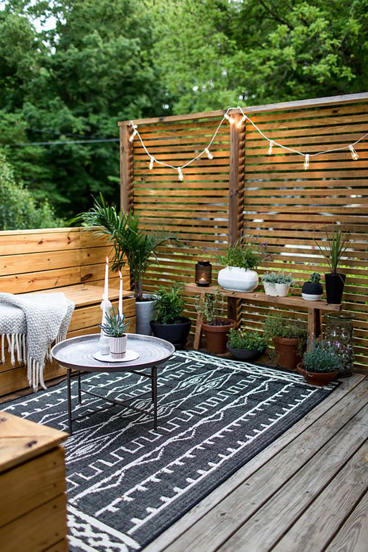 Plank and Mill peel and stick reclaimed wood outdoor space