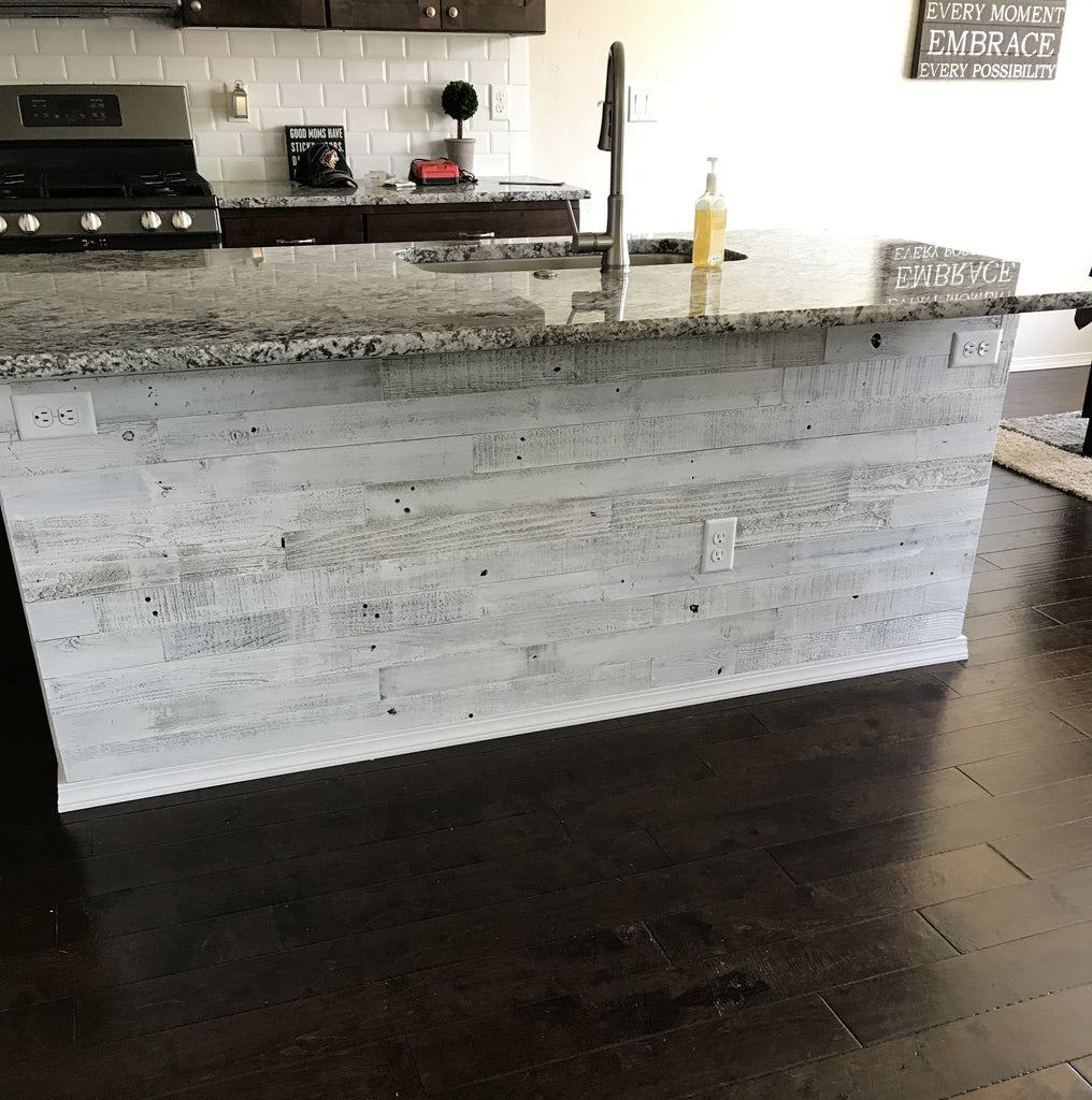 Whitewash barn wood planks, whitewash wood, DIY barn wood wall, peel and stick whitewash barn wood wall, real wood planks, kitchen island, wood kitchen island