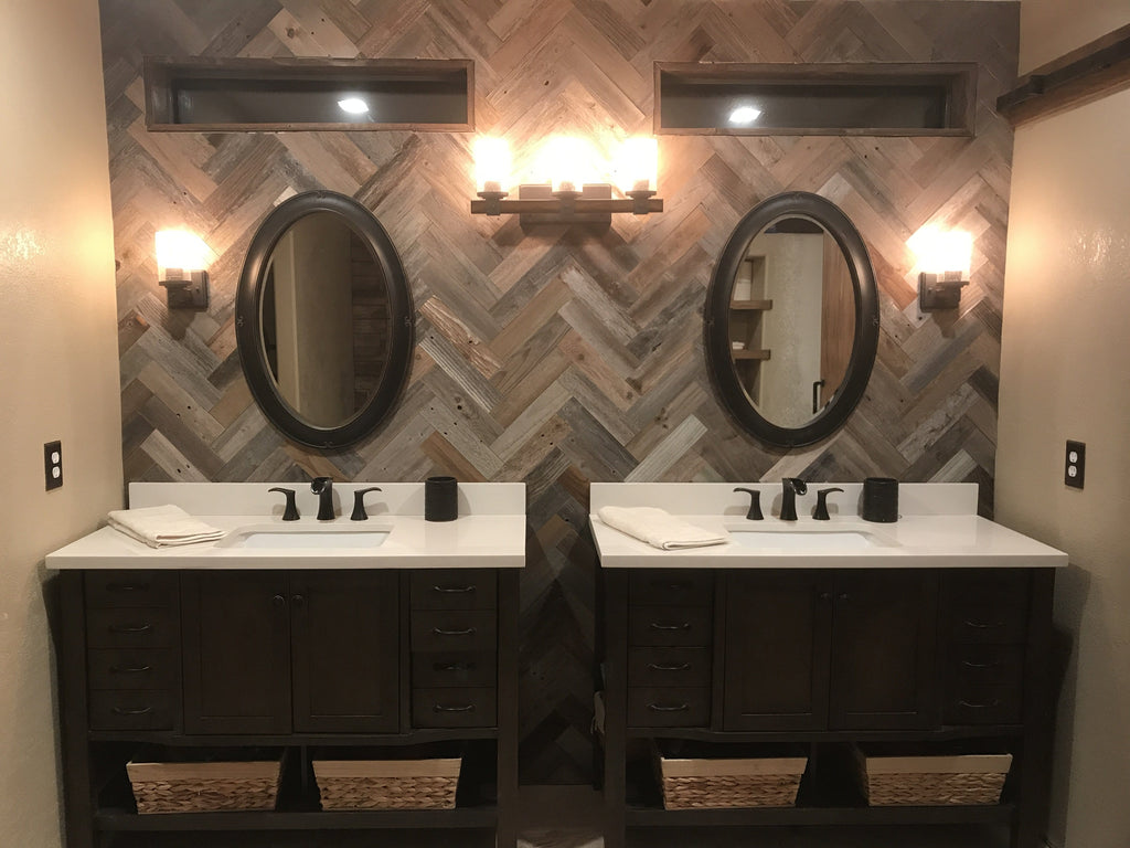 Herringbone Wood Planks for walls made from reclaimed barn wood.  Herringbone Wood Plank pattern bathroom wall.