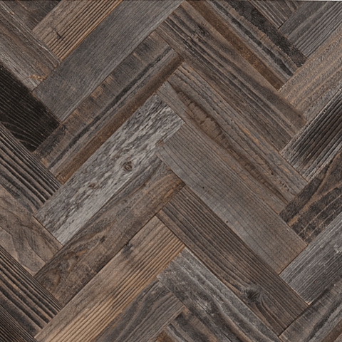 Herringbone Wood Planks for walls made from reclaimed barn wood.