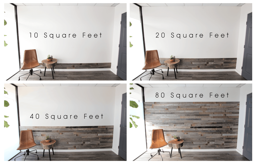 plank and mill, reclaimed wall panels, wood wall, barn wood, reclaimed barn wood, size comparison, square footage