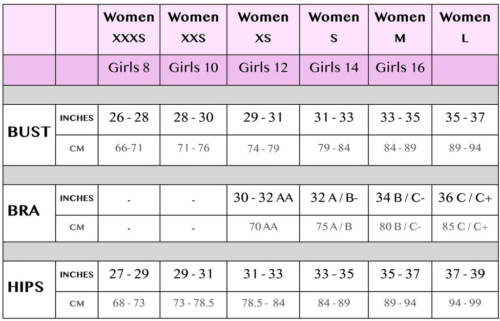 Chance Loves Size Chart for Girls Kids Tweens Teens and Young Women