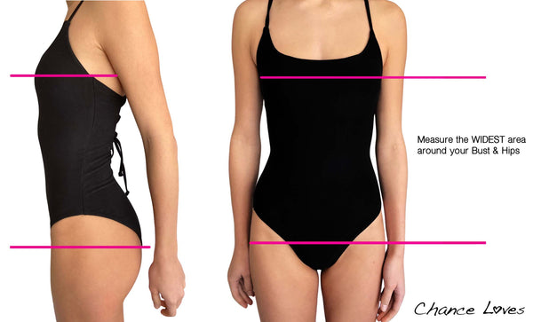 Swimsuit Size Chart instructions on how to measure the right way for your new bikini