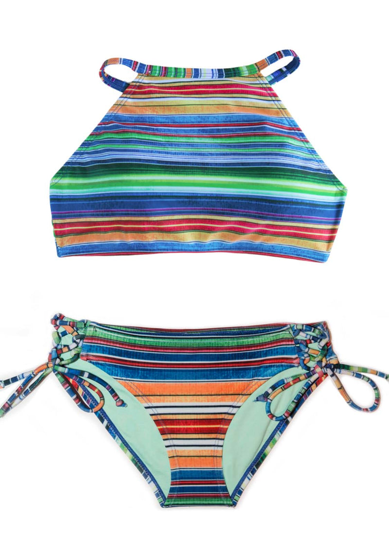 Baja Soul - 2 Piece Halter Top Style Striped Swimsuit SET