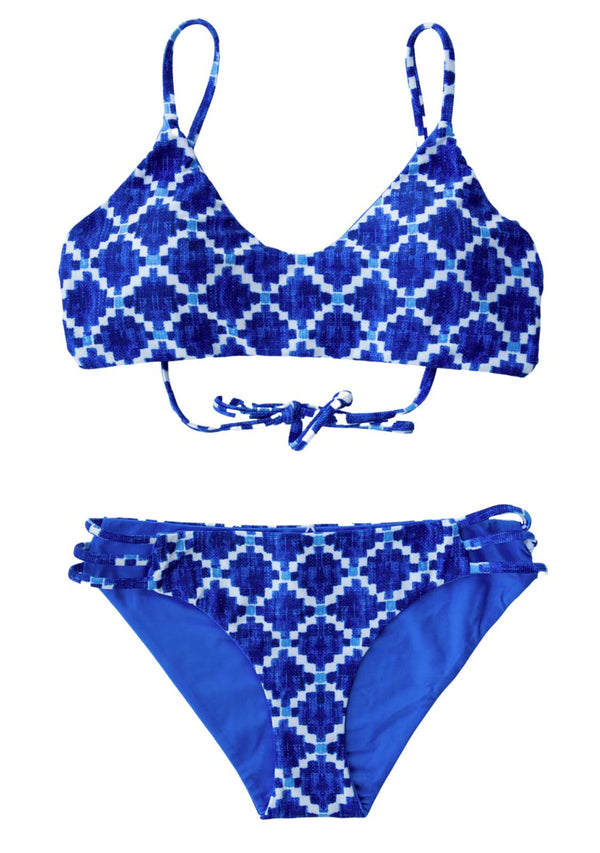 HALONG BAY - 2 PIECE BIKINI SET Reversible 2 Piece Bikini Set Chance Loves 10 Blue/White