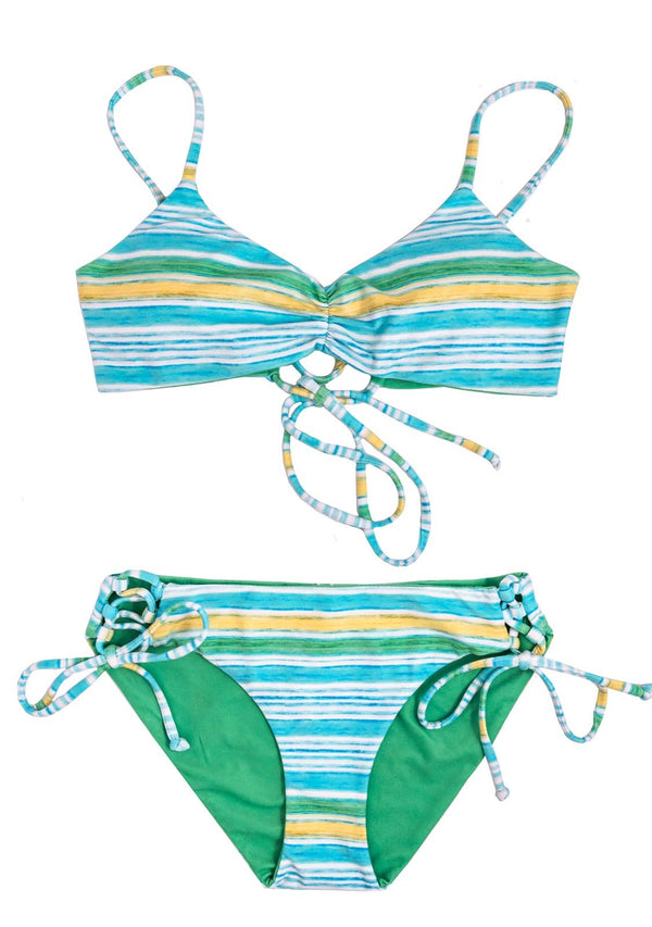PARADISE COVE - 2 PIECE SCOOP TOP and SIDE TIES BOTTOMS 2 Piece Bikini Set Chance Loves 10 GREEN/YELLOW/BLUE