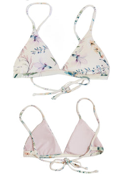 "Beautiful Floral Triangle Bikini Top from the latest ""Isla Collection"", with rose colored pattern, made by Chance Loves Swimwear."