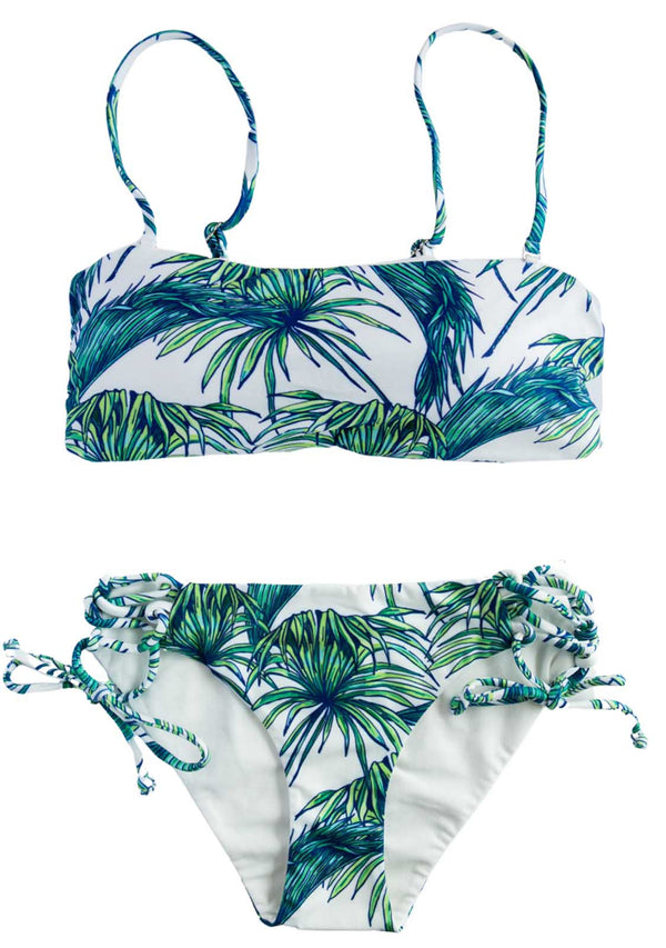 Jungle Shores - 2 PIECE Bikini BANDEAU TOP & SIDE TIES BOTTOMS TWO PIECE w/Halter Top Chance Loves 10 Green White