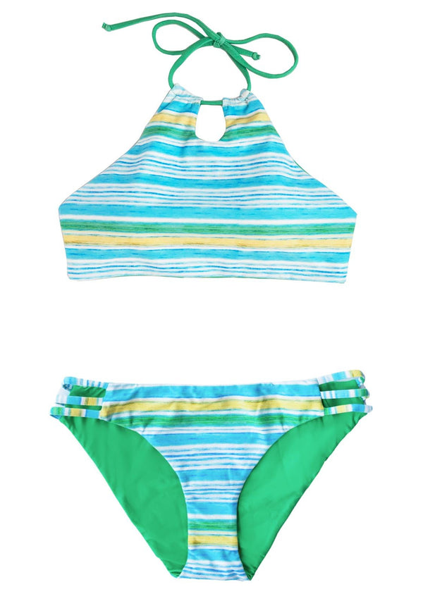 PARADISE COVE - 2 PIECE HALTER TOP and 3-BAND BOTTOMS Reversible 2 Piece Bikini Set Chance Loves 10 GREEN/YELLOW/BLUE