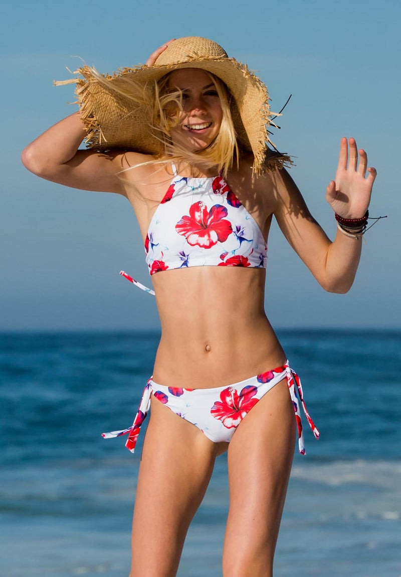 Hawaii Inspried Red White Hibiscus Flora Halter Top Two Piece Bikini