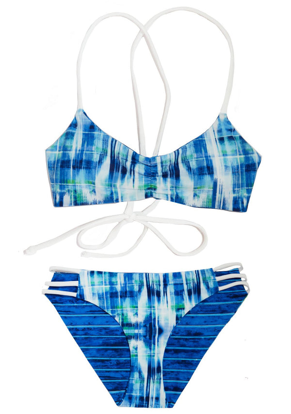 Aquazul Bikini - Reversible 2 Piece Swimsuit for Girls with Scoop Top 2 Piece Bikini Set Chance Loves 10 Blue/Green/White