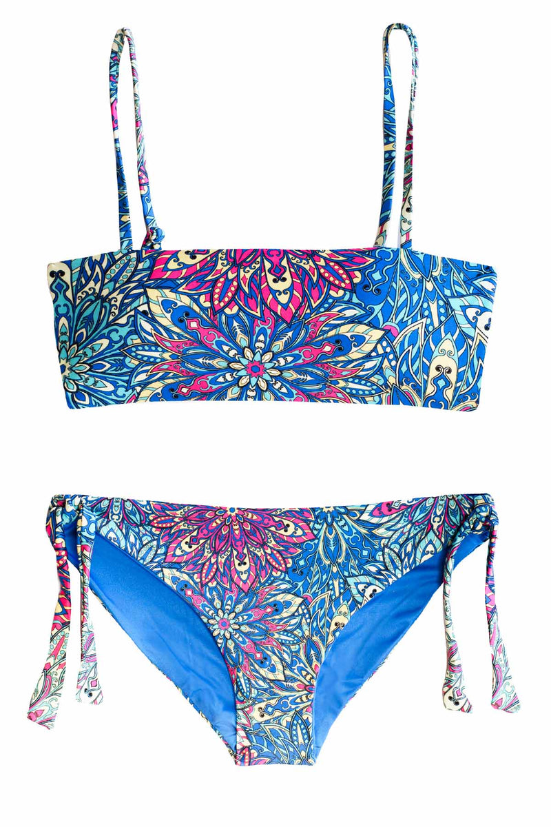 Blue Multi Color High Quality Two Piece Bikini Swimsuit Set with Bandeau Style Top and Cute Swim Bottoms