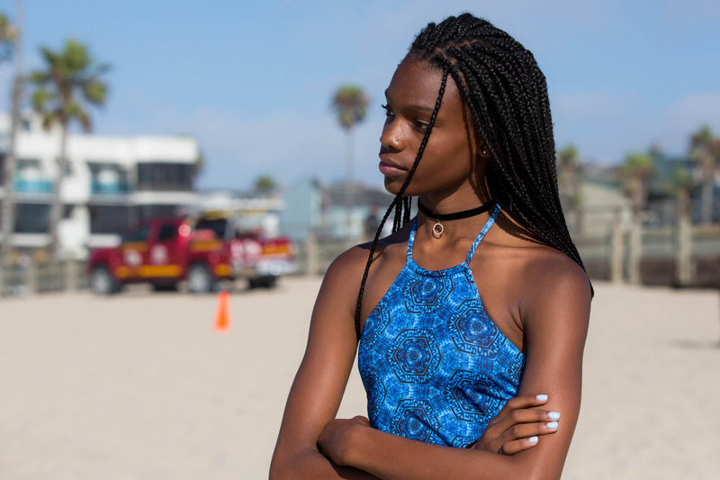 Teen Girl in Venice Beach in her Two Piece Tank Swimsuit by Chance Loves