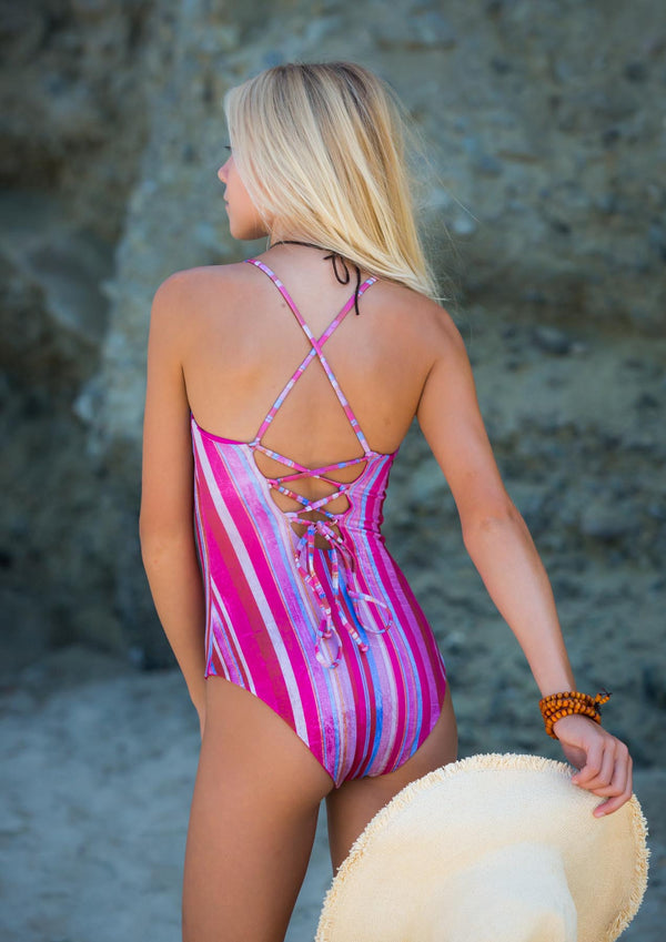 Amazing Cross Back Style cute striped Full Suit One Piece Swimsuit made by Chance Swimwear