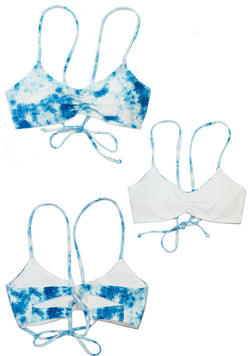 CLOUD 9 Tye Dye Reversible SCOOP TOP Chance Loves XS Blue/White