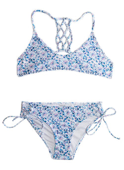 Daisy Blue TWO PIECE Blue and White FLORAL Girls Bikini SET- YOUTH SIZING Chance Loves Swimwear