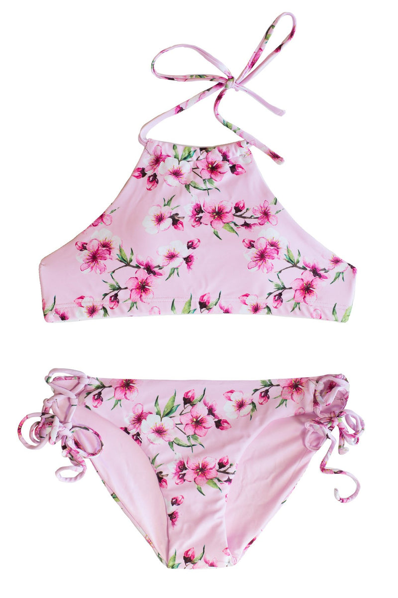 Flowa Powa - 2 PIECE Bikini SET Pink Floral w/ Halter Top and Side Ties Bottoms Bikini with Halter Top Chance Loves XS
