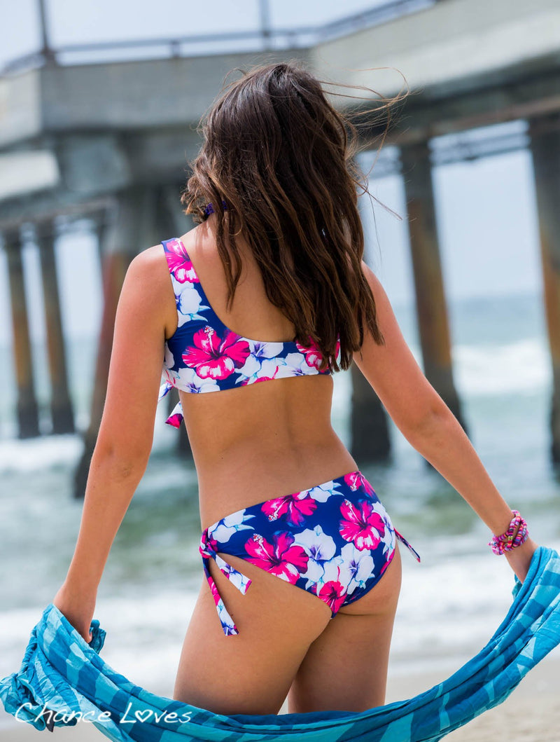 Purple and Pink Floral Bikini Two Piece Swimsuit