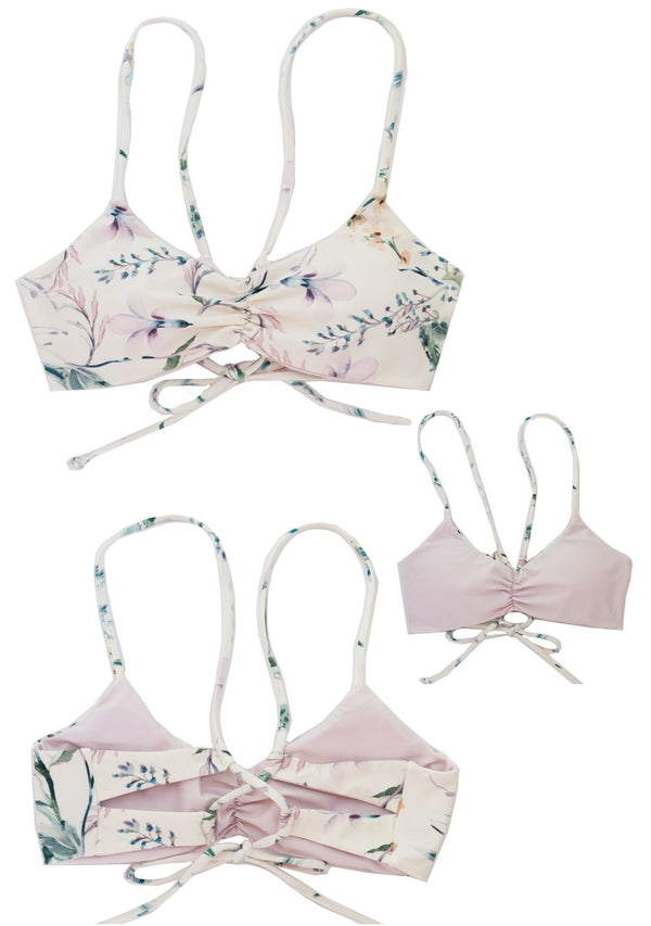 Beautiful Floral Bralette Bikini Top, with light pink rose color florals.