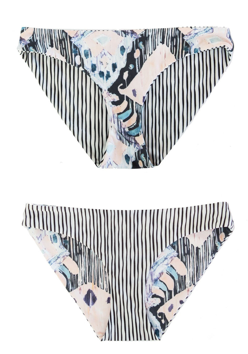 Reversible Hipster Swim Bottoms, with Black and white stripe and art Print.