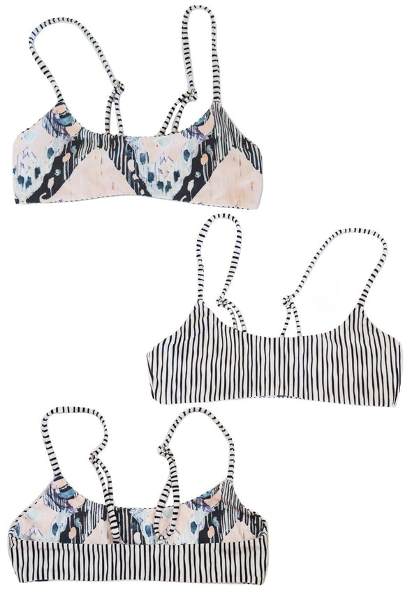 Bralette Bikini Swim Top, reversible with black and white stripes on one side, and a beautiful art print on the other side.