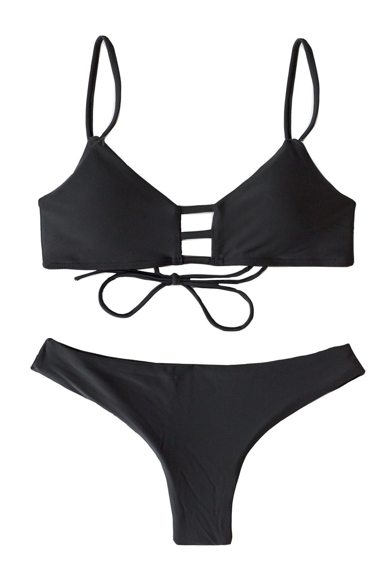 Classic Black Bikini Swimwear with Scoop top and Cheeky black bottoms and scrunchy detail