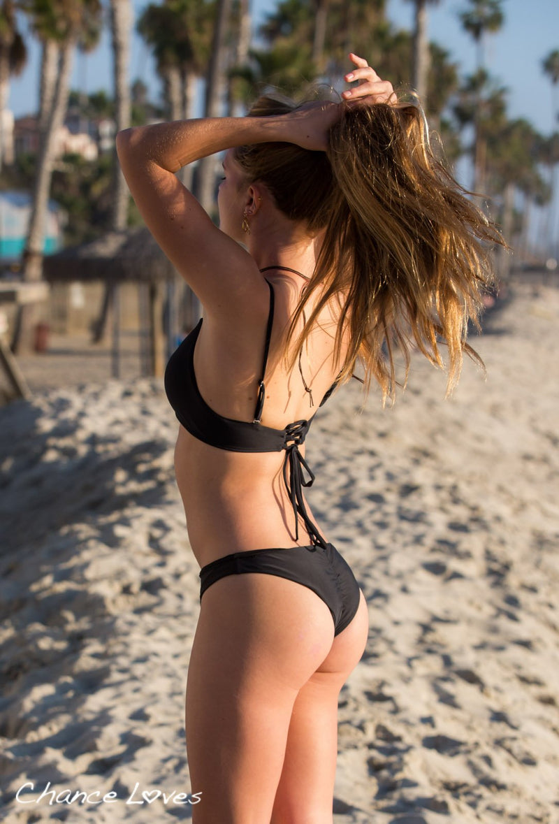Must Have Black Bikini Bottoms with Scrunchy detail. Bestselling black Swimwear