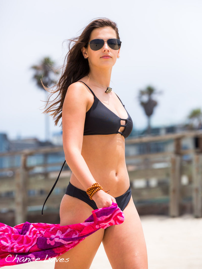 Kailua Scoop Style BLACK Bikini TOP + Black Cheeky BOTTOMS with Scrunchy Detail Bikini Top Chance Loves Swim