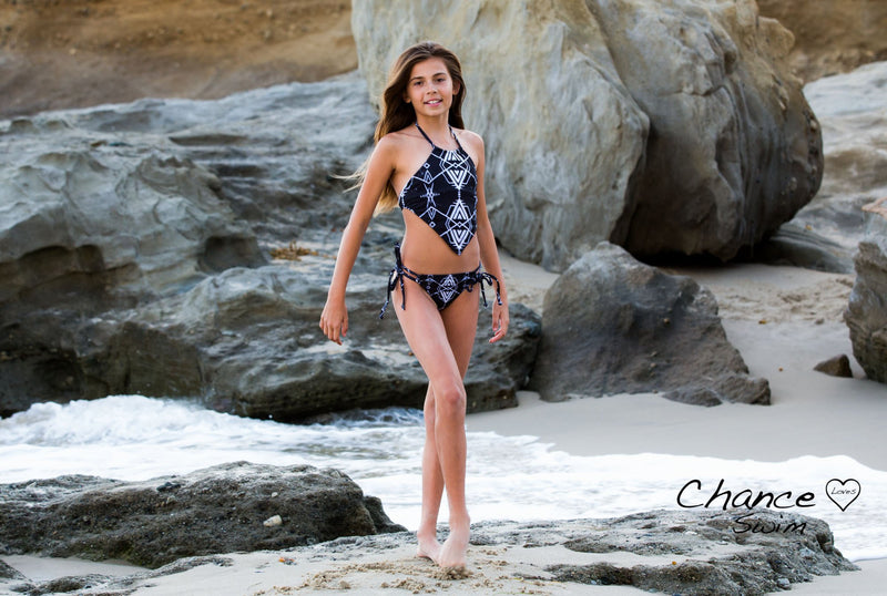 Mayan Stories - Beautiful Halter Top Style TWO PIECE Black Chance Loves Swimwear suit worn on the beach at Three Arch Bay in laguna Beach