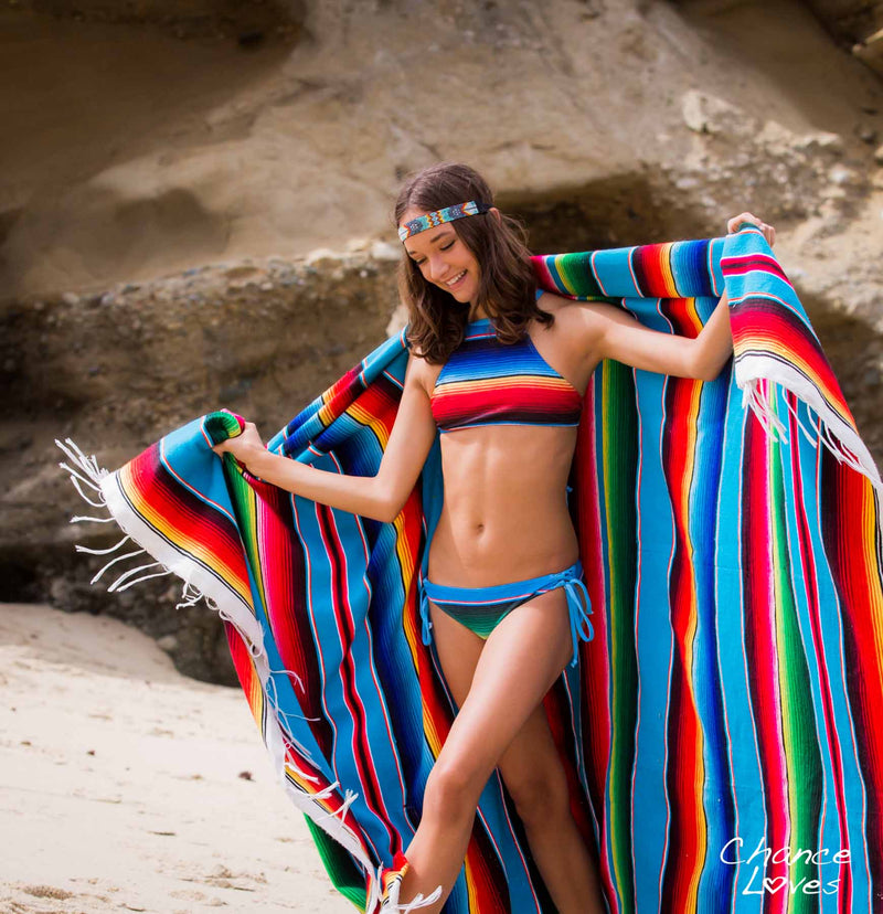 Mexicans girls in bikinis Mexican Fiesta Two Piece Youth Swimsuit Striped Multi Color Halter Set Chance Loves