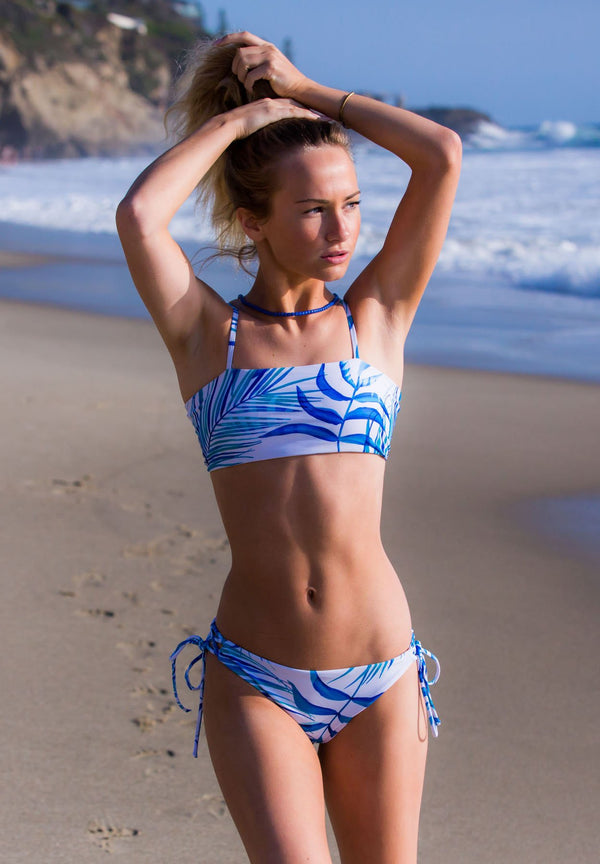 Reversible Blue and White Two Piece Bikini Swimset with Bandeau Style Swim Top