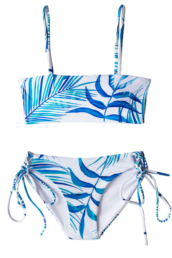 High Quality Blue and White Reversible TWO piece Bikini Set with Bandeau Top and Adjustable Full Bottoms