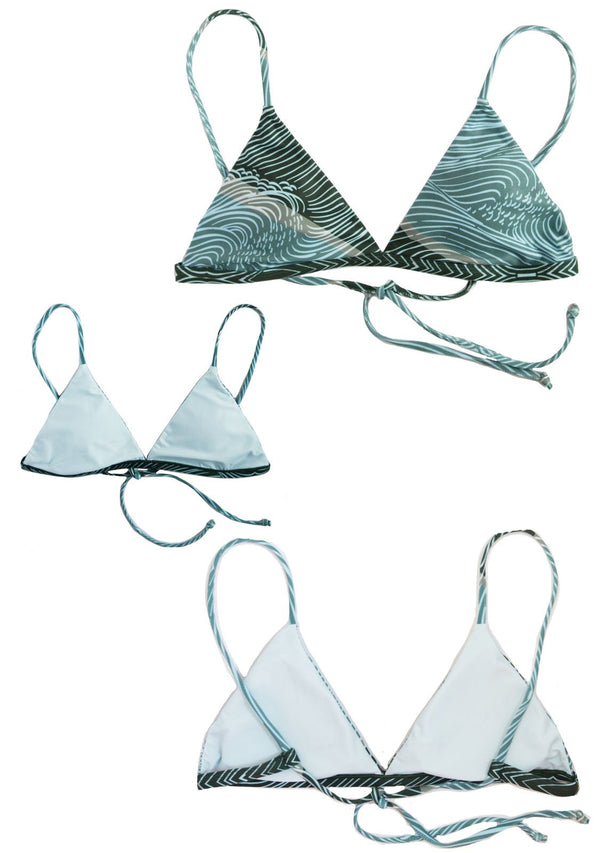 SEA GYPSY - TRIANGLE BIKINI TOP Reversible & Sustainable Blue/Green Triangle Top Chance Loves Swim XS