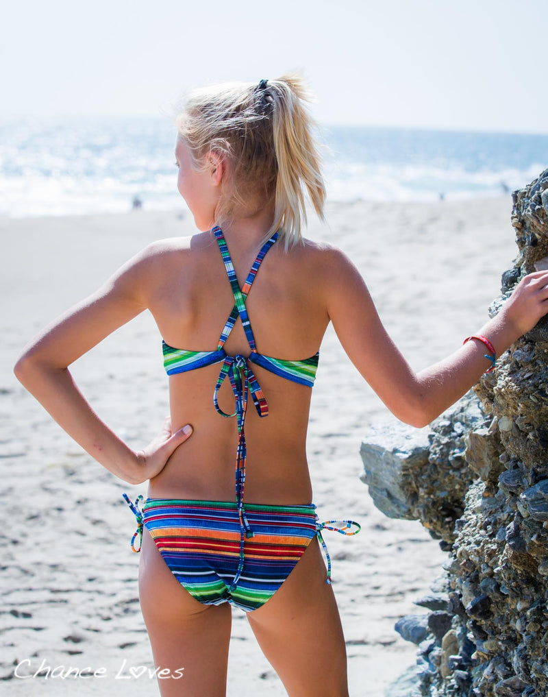 Two Piece High Quality Multi Color Bikini Set with Striped Halter Top and Cute Swim Bottoms designed by Chance Loves