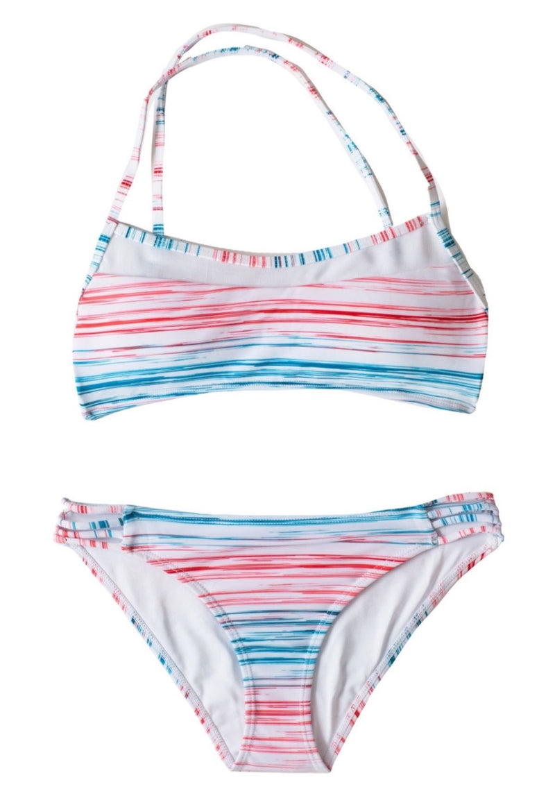 Sunset Beach Bikini SET - Striped Cross Back Scoop + Bottoms Youth 8 10 12 14 2 Piece Bikini Set Chance Loves Swim 8 White