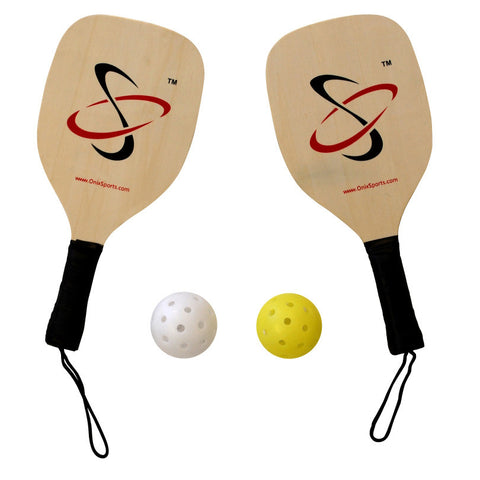 Onix Wood Pickleball Paddle Starter Kit with two pickleballs and two pickleball paddles
