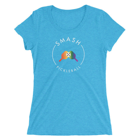 Rainbow Smash Pickleball Tri-Blend Women's Tee