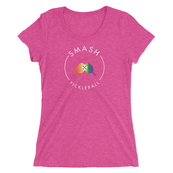 Rainbow Smash Pickleball Tri-Blend Women's Tee - Smash Pickleball