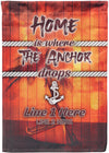 Home Is Where The Anchor Drops Flag - personalized camping sign