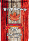 Happy Campers For Life Canadian Camping Flag - personalized camping sign