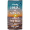 Sharing Sunrises and Sunsets Personalized Beach Towel - personalized camping sign