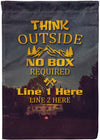 Think Outside No Box Required Camping Flag - personalized camping sign