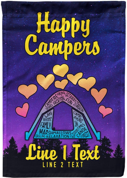 Happy Campers Personalized Campsite Flag Madefreshtees